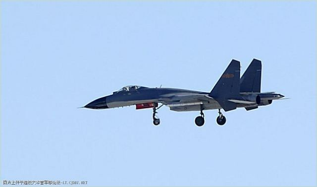 A Chinese fighter aicraft J-11B was spotted for the first time with a new generation of air-to-air missile AAM PL10,