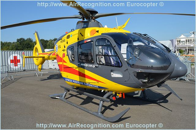 Also at the air show, Eurocopter is using the EC135 to demonstrate the versatility of its product line. This helicopter will be present in an emergency medical services configuration for LPR (Poland's public air medical rescue operator), and as a police helicopter for France's Gendarmerie, and in its EC635 military version.