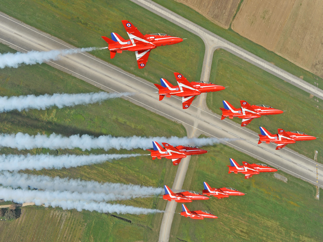 The British Royal Air Force Aerobatic Team, the Red Arrows, promises to thrill crowds at the Dubai Air show later this month with loops, rolls and precision formations.The team began a Middle East tour on Monday and will also perform in Al Ain and Abu Dhabi and in Kuwait, Oman, Qatar, Saudi Arabia and Jordan.