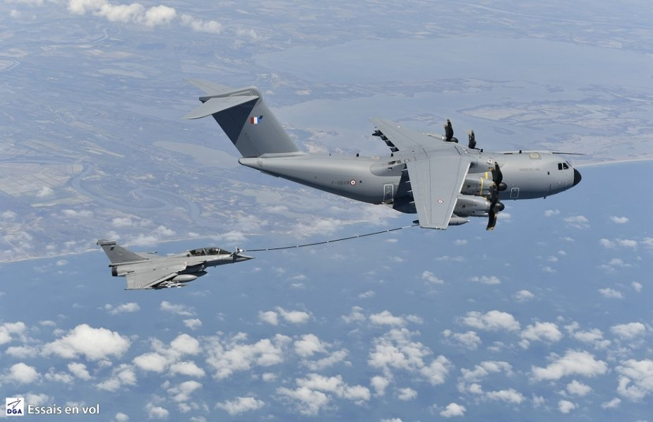 French Air Force A400M airlifter successfully complete aerial refuelling test campaign with Rafale fighter