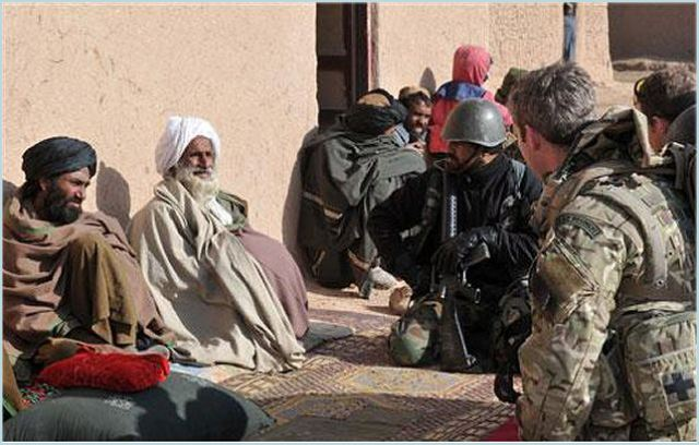 Members of II Squadron RAF Regiment and the Afghan National Army speak with local elders