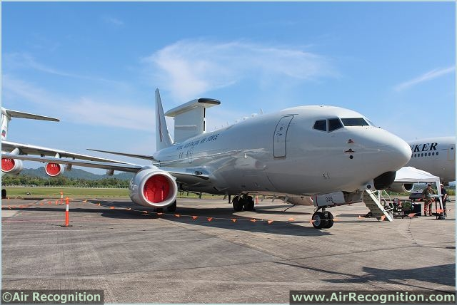 Royal Australian Air Forrce displays the E-7A Wedgetail Airborne Early Warning & Control aircraft at Lima 2013. The E-7A Wedgetail provides Australia with one of the most advanced air battlespace management capabilities in the world.