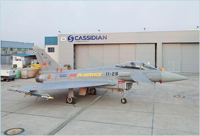 The 300th Eurofighter Typhoon multi-role fighter aircraft produced by the four partner companies of the European consortium, was delivered today by Cassidian to the Spanish Air Force, Ejercito del Aire. This milestone makes the Eurofighter Typhoon the only new generation multi-role aircraft to reach the impressive figure of 300 examples in service.