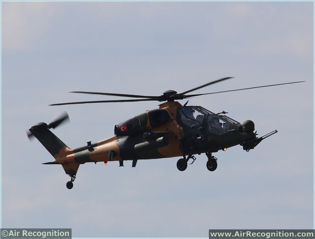 Turkish Aerospace Industries (TAI) is showcasing its T129 ATAK attack helicopter for the first time at Farnborough International Airshow. The T129 attack helicopter ATAK, which is co-produced by Italy's AgustaWestland and the TAI, is scheduled to showcase three flights as part of the program.