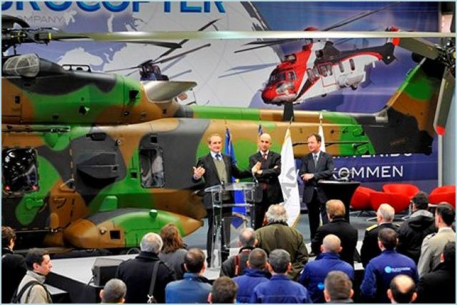During a visit by the French Defense Minister Gérard Longuet to its facilities in Marignane, Eurocopter officially delivered the first NH90 Tactical Transport Helicopter (TTH) qualified in its final operational configuration to the French armament procurement agency today.