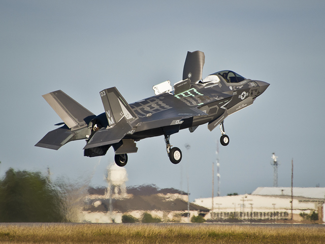 At EGLIN AIR FORCE BASE, Fla.The 33rd Fighter Wing and the F-35 Lightning II program reached a new milestone when Marine Fighter Attack Training Squadron-501 completed its first short take-off and vertical landing mission here Oct. 24.