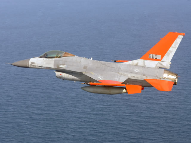 Boeing and the U.S. Air Force have completed the first unmanned QF-16 Full Scale Aerial Target flight, demonstrating the next generation of combat training and testing.The QF-16 is intended to be used as target practice to give a chance to pilots to fire some live AAM (Air to Air Missile). QF-16 drones are replacing the older QF-4 (based on F-4 phantom) drones which are to be retired in 2015.