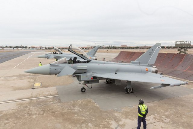 Spanish Air Force receives first two Eurofighter Typhoons in P1Eb FW standard 640 001