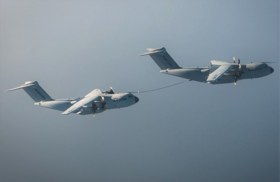 Successful in flight refueling between two French Airbus A400M Atlas