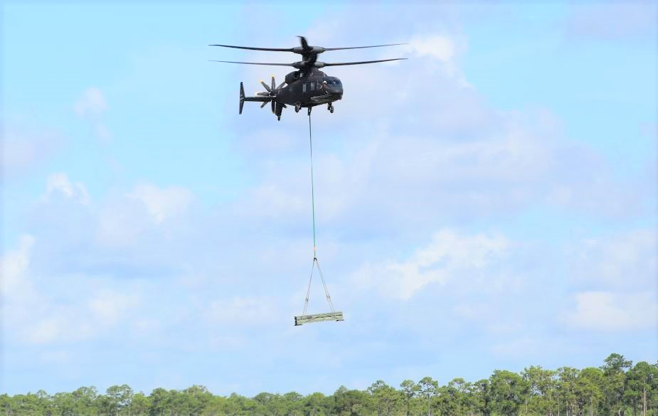 Sikorsky Boeing SB 1 Defiant lifts 5300 lbs to demonstrate ability to carry troops and sling load cargo simultaneously