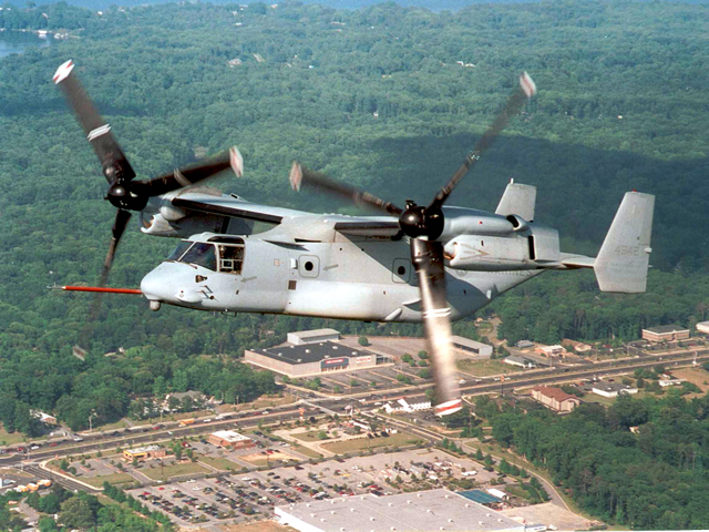 Produced by two major manufacturers Bell and Boeing, the V-22 Osprey is a joint service multi-role combat aircraft utilizing tiltrotor technology to combine the vertical performance of a helicopter with the speed and range of a fixed wing aircraft. With its engine nacelles and rotors in vertical position, it can take off, land and hover like a helicopter. Once airborne, its engine nacelles can be rotated to convert the aircraft to a turboprop airplane capable of high-speed, high-altitude flight.
